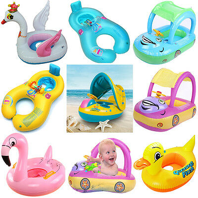 Sunshade Baby Kids Float Seat Boat Inflatable Swim Swimming Ring Pool Water Fun