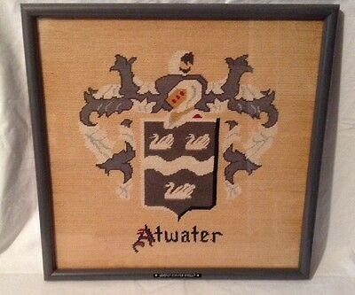 """Coat of Arms Atwater Family Crest Handmade Needlepoint Framed w/ glass 17"""" x 16"""""""