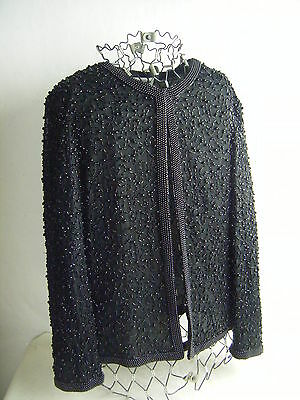 PAPELL BOUTIQUE Heavy Beaded Black Evening Silk Jacket-Bust 37/S