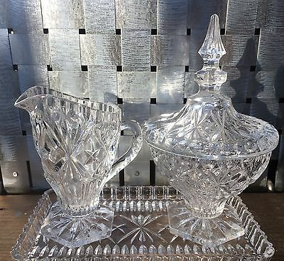 Crystal Etched Cream And Lidded Sugar Bowl Set