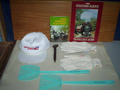 Railroad Items Lot: CP Rail Hat + CNR Gloves & Books + Train Fly Swatter & Spike
