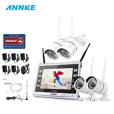 """ANNKE Wireless 11"""" Monitor DVR Home 960P WIFI Security Cameras System Day Night"""