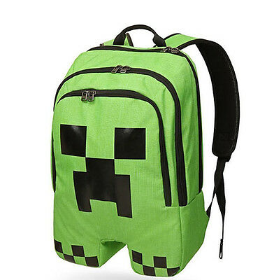 Minecraft School Backpack Rucksack Waterproof Book Creeper Storage Bag Sports