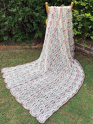 Handmade Heirloom Crochet 208x122cm Mohair & Wool Blend Snowflake Blanket /Throw