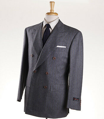 NWT $3995 D'AVENZA Gray-Blue Chalkstripe Flannel Wool Suit Classic-Fit 40 R