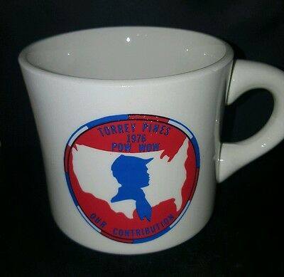 Vtg BSA Torrey Pines 1976 Pow Wow Our Contribution Boy Scout Coffee Cup Mug