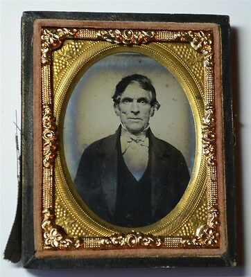 9th Plate Ambrotype On Ruby Glass - Slightly Wild-eyed Man - Half Case