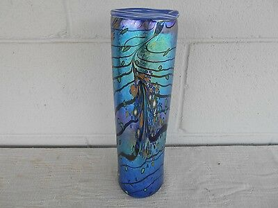 Colin Heaney Cape Byron Hot Glass Cylinder Iridescent Vase.