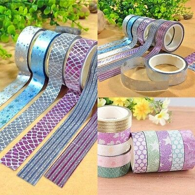 10pcs Self Adhesive Glitter Washi Masking Tape Sticker Craft Decorative 15mmx3m
