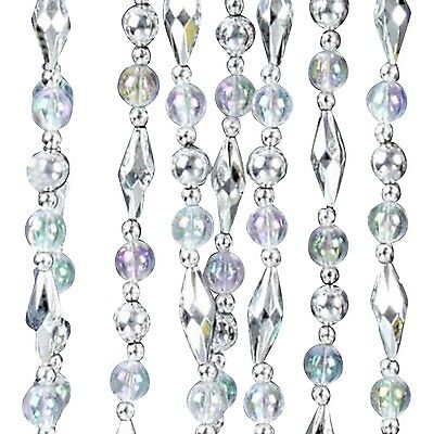 Iridescent Faceted Oval Beaded Christmas Holiday Tree Trim Garland 9 Feet