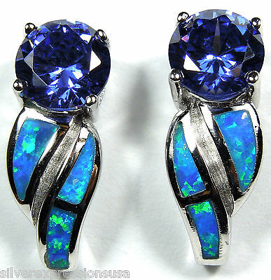 7mm Tanzanite and Blue Fire Opal Inlay 925 Solid Sterling Silver Post Earrings