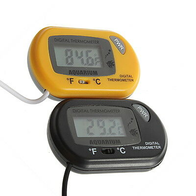 LCD Digital Fish Aquarium Thermometer Water Terrarium FREE Extra Batteries F#