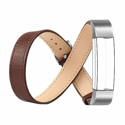 Leather Band for Fitbit Alta, Wearlizer Genuine Leather Double Tour Smart, CXX