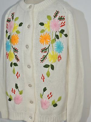 1950-60's Kinlon Floral Embroidered Sweater MED