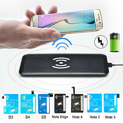 Qi Wireless Charging Pad + Receiver Kit For Samsung Galaxy Note 3/4/Edge S 3/4/5