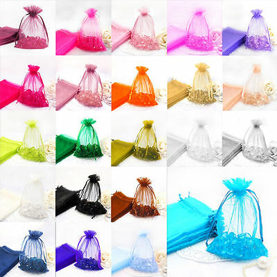 30/100X Organza Jewellery Packing Pouches Wedding Party Favour Candy Gift Bags