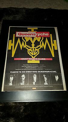 Queensryche I Don't Believe In Love Rare Original Radio Promo Poster Ad Framed!