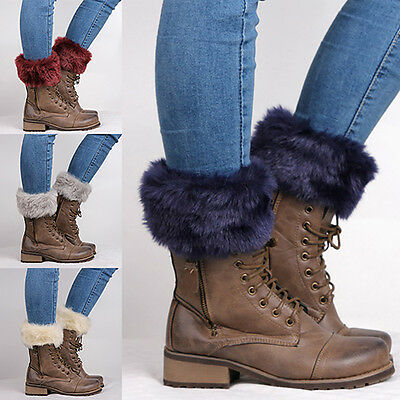 Women's Autumn Winter Furry Ribbed Boot Cuffs Boot Toppers Leg Warmers Hot Chic