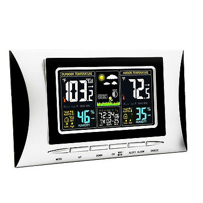 Wireless Color LCD Weather Station Thermometer Humidity  Calendar w/ Sensor