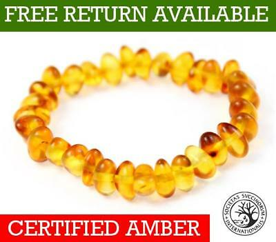 100% Genuine Cognac Amber Anklet/Bracelet ELASTICATED from UK Dristriibutor