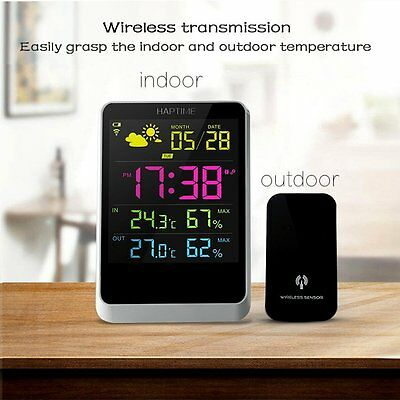 Weather Station Humidity Digital Alarm Clock LED Screen Date Time Displaying