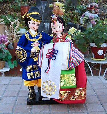 """11"""" Vintage Pair Boy and Girl Chinese Asian Dolls in Traditional Dress"""