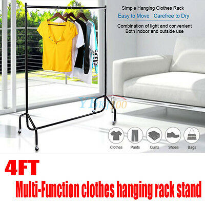 Heavy Duty Adjustable Clothes Bag Hanging Rail Rack Storage Stand On Wheels 4FT