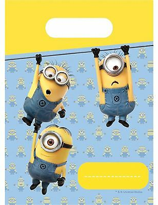 6 Lovely Minions Party Bags Childrens Birthday Gift Loot Bag Despicable Me