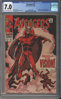 Avengers # 57  First appearance of the Vision !  CGC 7.0 scarce book !