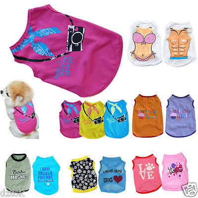 Cute Dog Cat Clothes Small Dog Vest Pet T Shirt Puppy Apparel Costume Clothing
