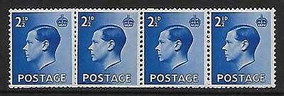 Sg 460 2½d Edward VIII Coil Join strip of 4 UNMOUNTED MINT
