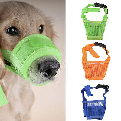Dog Pet Mouth Bound Device Safety Adjustable Breathable Muzzle Stop Biting RY