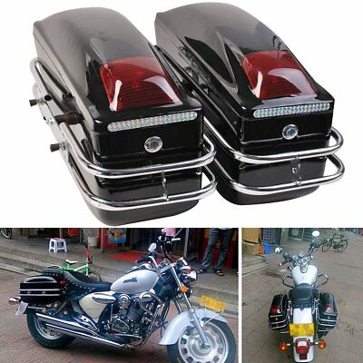 Universal Motorcycle Side Pannier Boxes Hard Saddle Bags Hard Case Rack Cruise