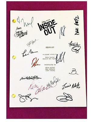 Inside Out Signed Script Rpt Pixar Amy Poehler, Phyllis Smith, Richard Kind
