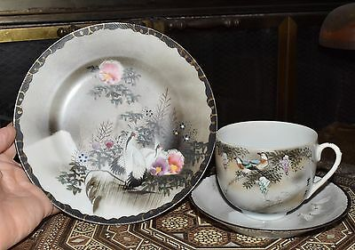 Vtg Antique Japanese Hand Painted Teacup & Saucer w/ Plate Birds Signed