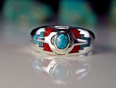 Sterling silver Turquoise & Coral inlaid & stamped southwest ring Size 5 thru 15