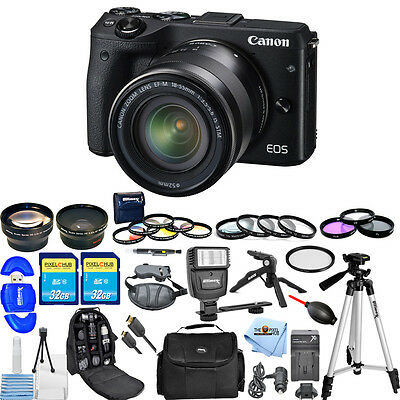 Canon EOS M3 Mirrorless Digital Camera W/ 18-55mm Lens!! ALL YOU NEED KIT NEW!!