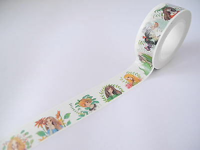 10 Metre Roll Washi Tape Woodland Fairy Girls Manga Flowers Cartoon Pretty 15mm