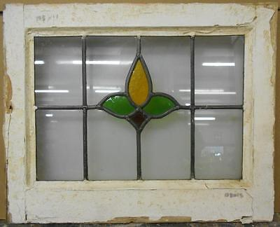 "OLD ENGLISH LEADED STAINED GLASS WINDOW Nice Floral Design 18.5"" x 15"""