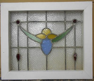 "OLD ENGLISH LEADED STAINED GLASS WINDOW Floral Droop Design 21.5"" x 18"""