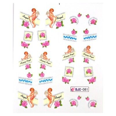Nail Art Stickers Water Decals Glitter Valentines Vintage Roses Angels (BJC81)
