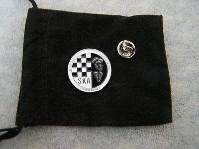 SKA Black and White Pin Badge in Gift Pouch
