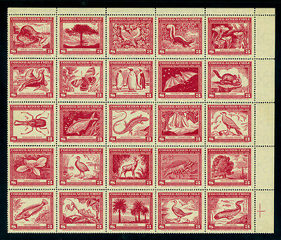 CHILE 1948 Claudio Gay Natural History Book complete BLOCK M/S Sc# C124 mint MNH