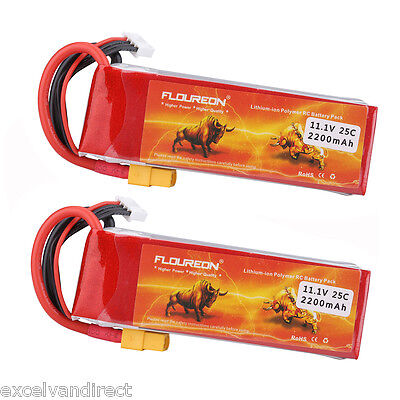 2x 3S 11.1V 2200mAh 25C Li-Po Battery XT60 for RC Helicopter Airplane Car Truck