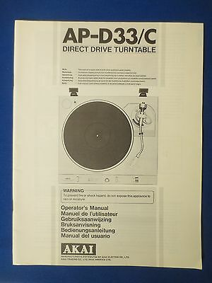 Akai Ap-D33 /c Owner Operator Manual Original Factory Issue The Real Thing