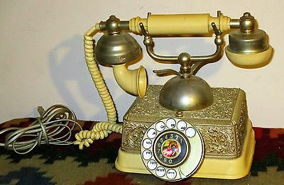 Vtg Ornate French Continental Rotary Dial Princess Telephone Radio Shack 43-320