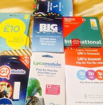 Vodafone EE O2 Lyca 3G 100x Joblot All Networks Bulk Simcards