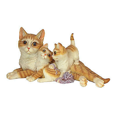 Tabby Cat Family Yellow & Orange Mom and Kittens With Yarn Home Garden Sculpture