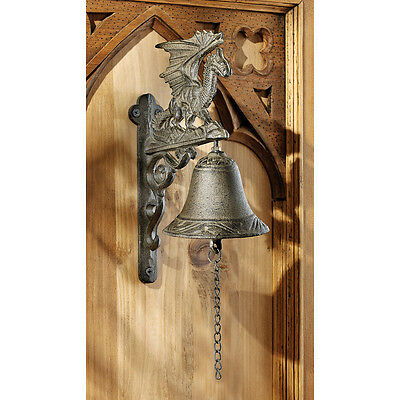 Medieval Manor Gothic Cast Iron Castle Dragon Bell Ringer Distinctive Door Bell