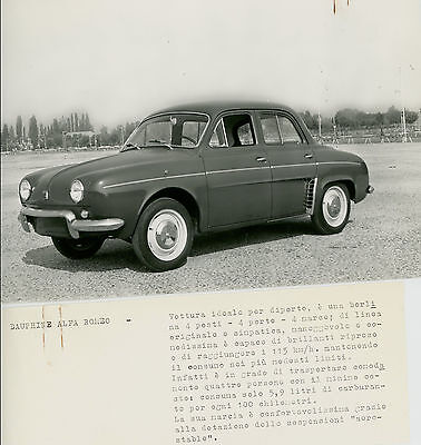 Dauphine Alfa Romeo  1962  Original Press Photograph